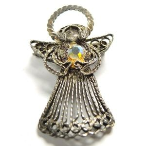 Jewelry - Vintage Angel Wire Rhinestone Silver Tone Brooch